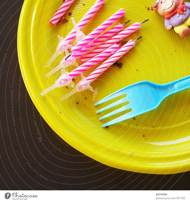 breakfast cake Brown Yellow Pink White Round Table Plate Fork Candle Decoration Cardboard dummy Crumbs Cake Gateau Dessert Jubilee Party The morning after