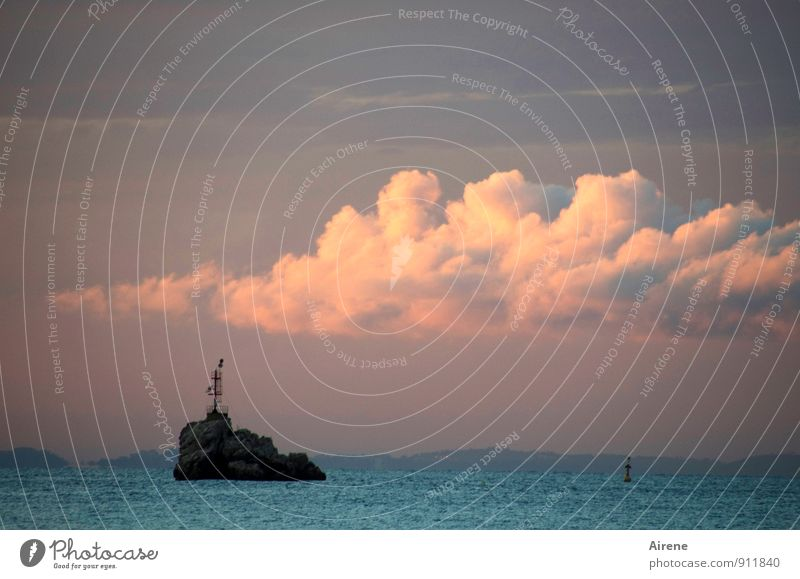 Sky Blue Water Loneliness Landscape Clouds Stone Horizon Pink Air Signs and labeling Esthetic Island Beautiful weather Elements Dusk