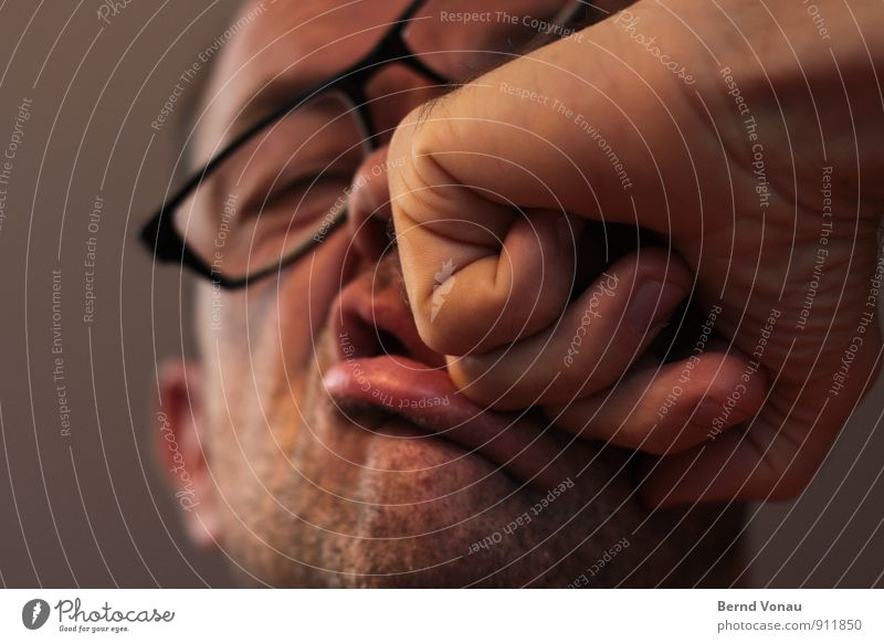 Look up Selfie. Joy Face Man Adults Lips Facial hair Hand Eyeglasses Funny Brown Gray Red Pain Force Blow Deformation Self portrait Fist Wrinkle 12 twelve