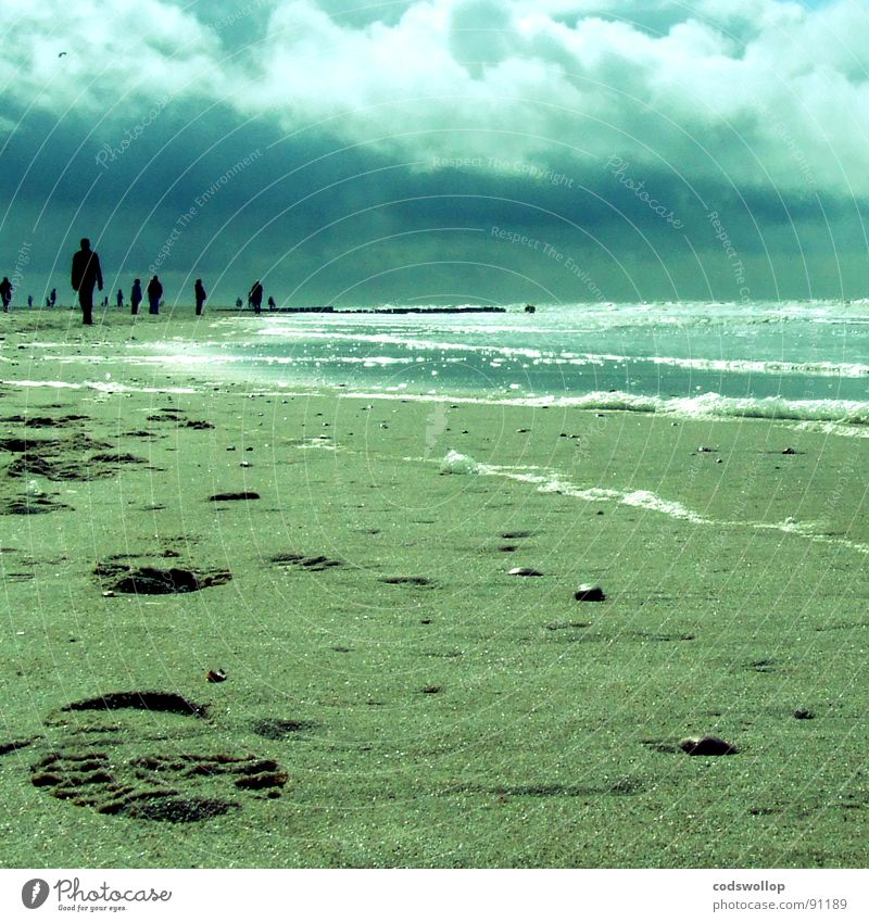 beachcombers Footprint Beach Pebble Waves Foam Clouds Coast Germany Sand pebbles north sea cloudy walk To go for a walk