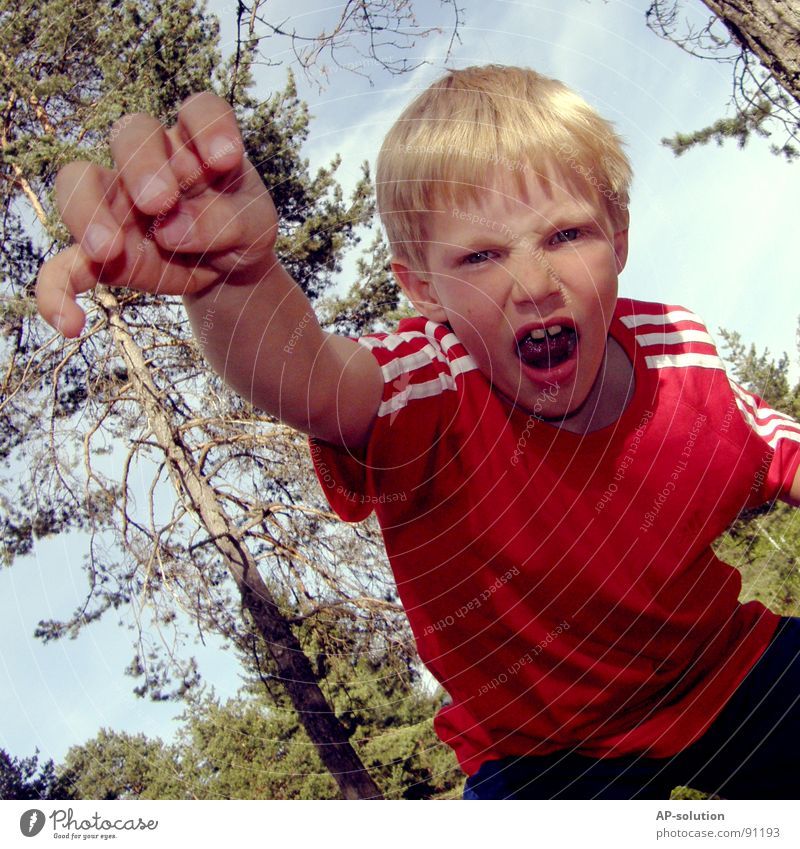 GRROOOAAAH! Boy (child) Child Blonde Grimace Facial expression Emotions Gesture Claw Tooth space Hand Fingers Fist Scare Anger Evil T-shirt Red Forest