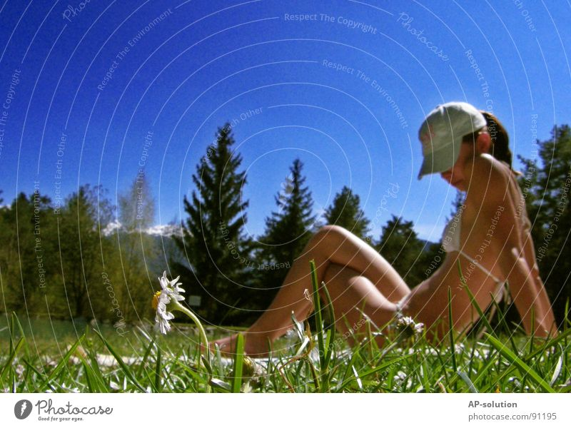 Woman Human being Nature Youth (Young adults) Sky Tree Sun Flower Blue Summer Joy Forest Meadow Feminine Emotions Style