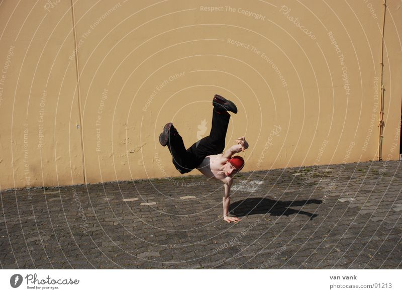 Yellow Sports Wall (building) Playing Stone Dance Orange Asphalt Breakdance Handstand
