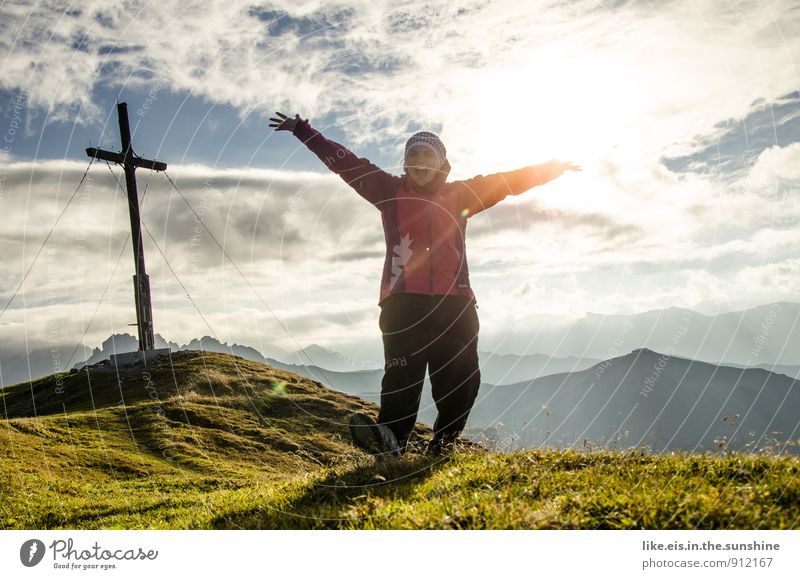 Woman Nature Vacation & Travel Youth (Young adults) Summer Young woman Landscape Joy Far-off places Environment Mountain Adults Life Feminine Sports Happy