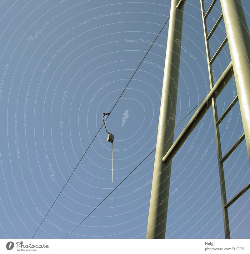 Sky Blue Beautiful Joy Playing Gray Line Tall Rope Large Crazy Thin Vantage point Beautiful weather Electricity pylon Upward