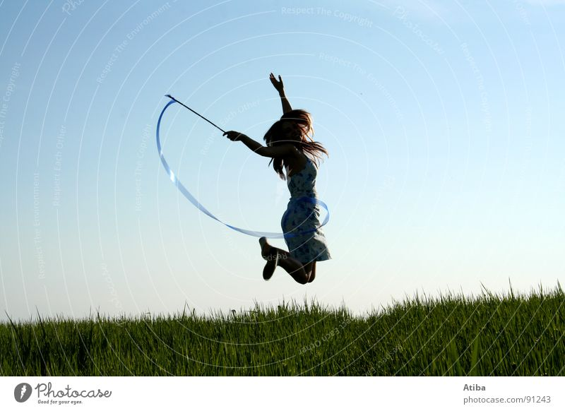 the good fee Field Meadow Green Feminine Woman Girl Magic wand Jump Dress Fairy tale Summer Sky Blue Rod Action Dynamics