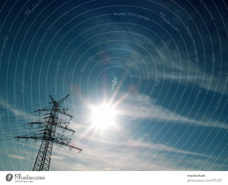 Sky Sun Clouds Lamp Line Power Energy industry Beautiful weather Electricity Force Tower Might Clarity Contact Industrial Photography Connection