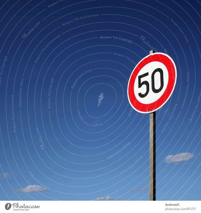 Sky Red Signs and labeling Transport Speed Digits and numbers Symbols and metaphors 50 Jubilee Road sign Cottbus Street sign Speed limit