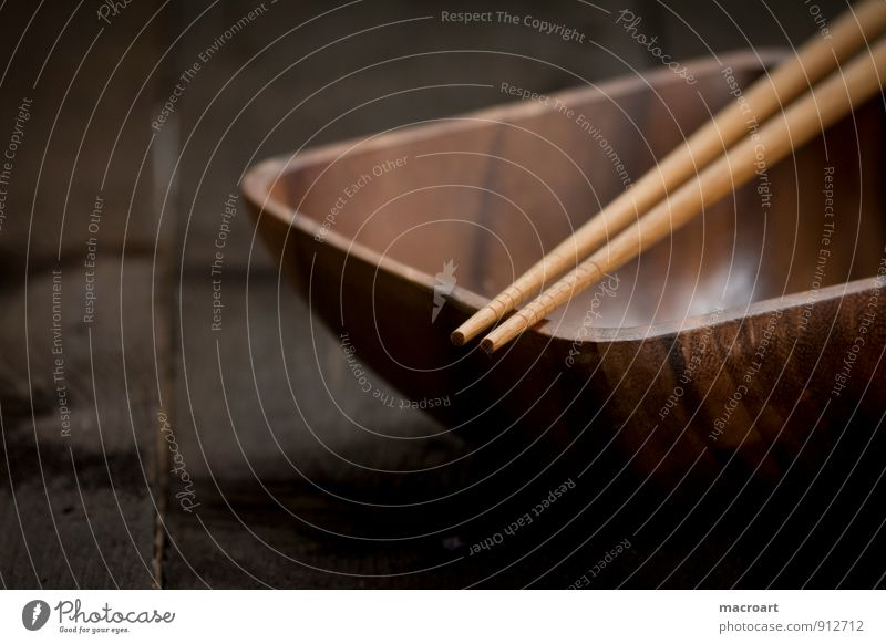 bamboo bowl Bowl Chopstick China Dish Eating Food photograph Crockery Wood Wooden table Close-up Asian Food Cutlery Plate Brown Table Empty Detail