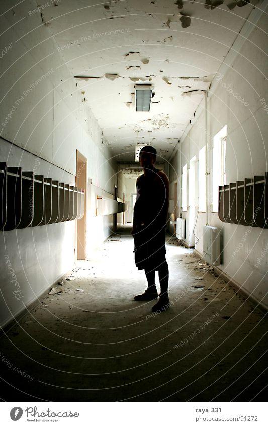 silhouette English Hallway Time Man Back-light British Checkmark Window Dark Silhouette Soldier Derelict Human being high school Door Old Contrast Bright
