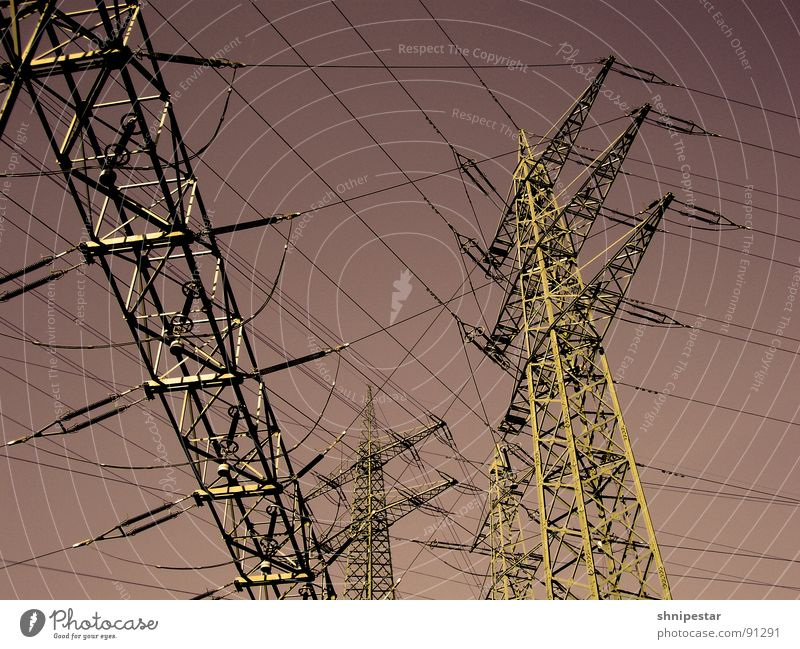 Summer Loneliness Metal Line Wind Power Field Energy industry Dangerous Electricity Industry Threat Steel Rust Whimsical Electricity pylon