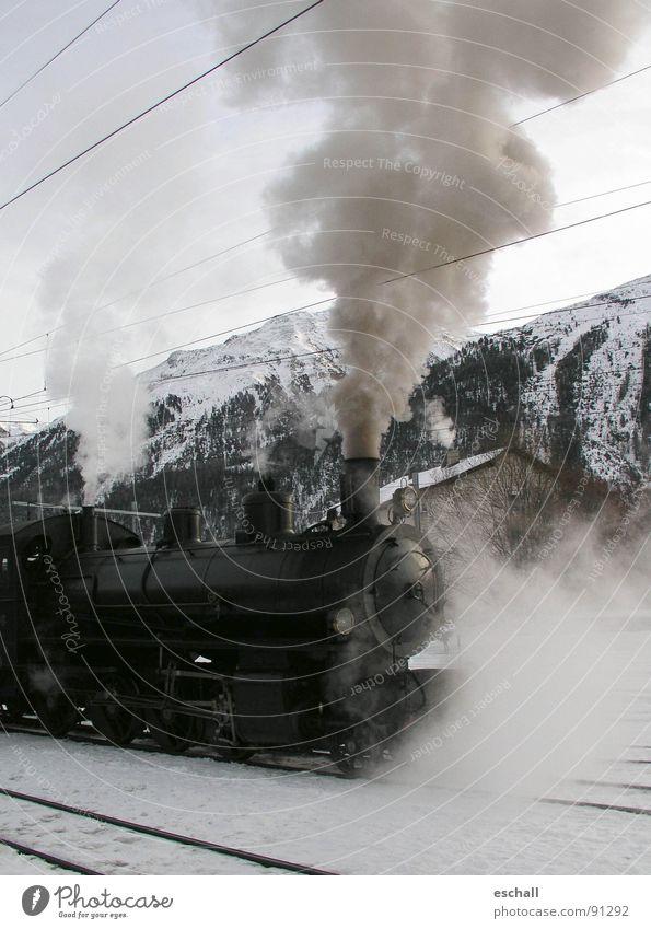 Winter Vacation & Travel Snow Mountain Landscape Railroad Europe Driving Romance Switzerland Alps Railroad tracks Smoke Peak Historic Train station
