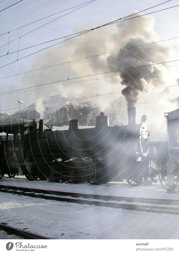 Winter Vacation & Travel Snow Landscape Railroad Driving Romance Switzerland Railroad tracks Smoke Historic Train station Nostalgia Steam Engines