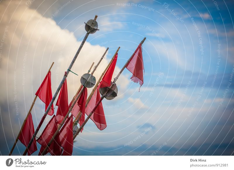 Sky Blue Ocean Red Clouds Environment Coast Air Signs and labeling Signage Planning Agriculture Harbour Flag Tradition
