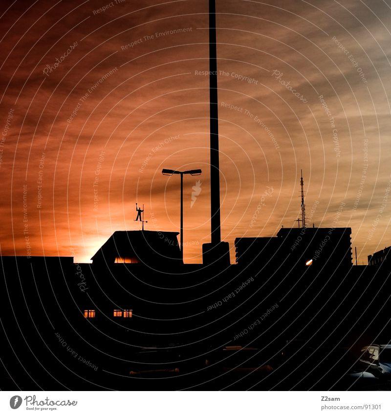 Sky Sun City Black Clouds Lamp Railroad Driving Roof Munich Lantern Bavaria Pole