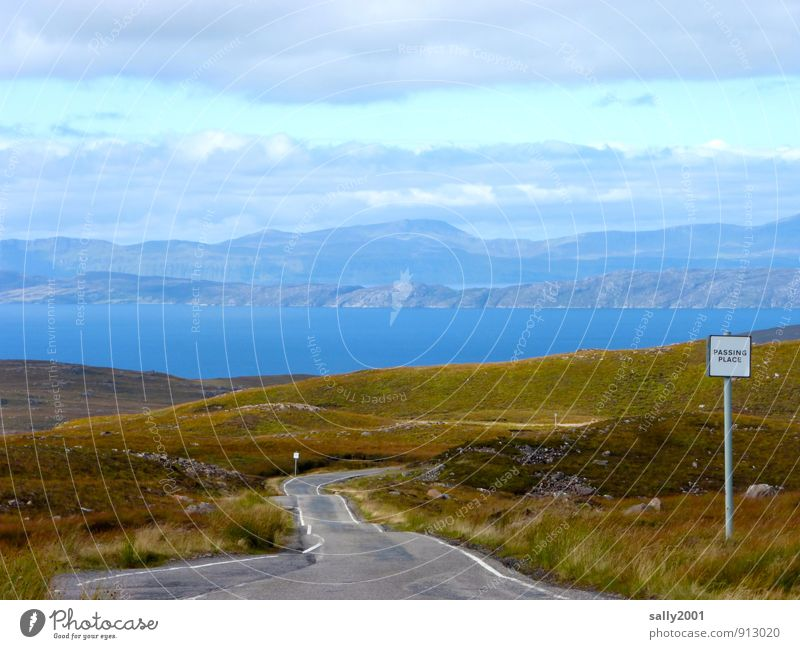passing point Nature Landscape Hill Mountain Fjord Ocean Scotland Great Britain Traffic infrastructure Street Road sign Relaxation Driving Fantastic