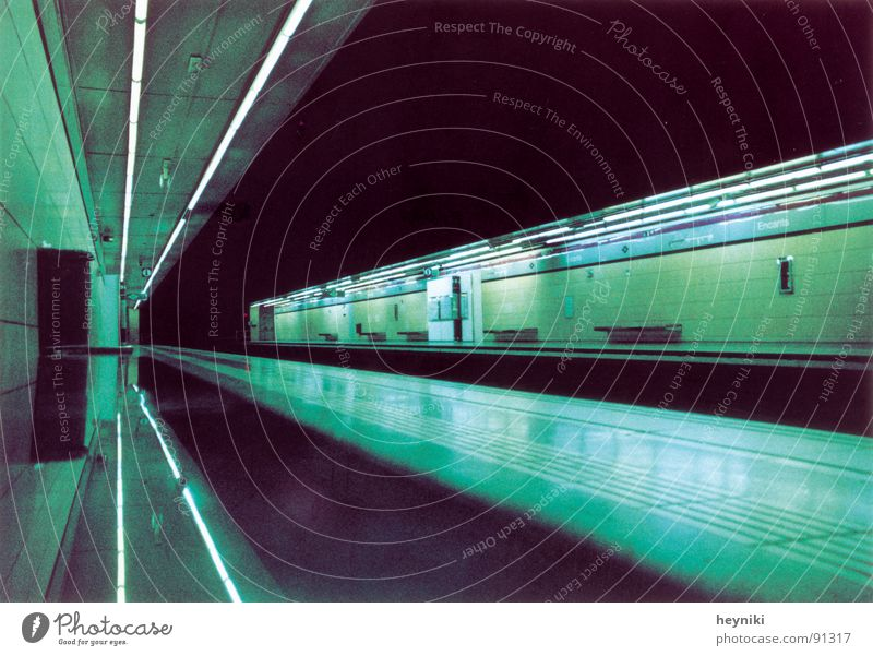Green Colour Line Wait Bench Tunnel Underground Train station Neon light Graphic Underground Vanishing point