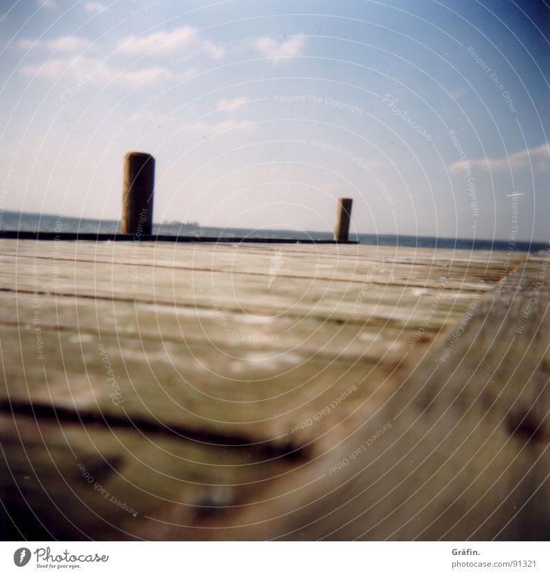 Running over water Holga Steinhuder Lake Footbridge Clouds Relaxation Calm Wood Hannover Watercraft Wobble Seagull Bird Summer Lomography steinhude Sky mardorf