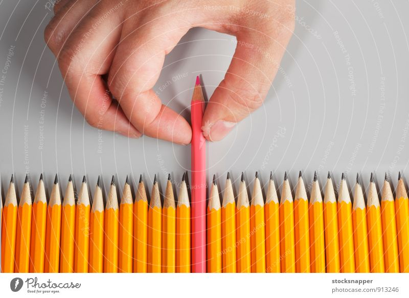 Choose Pink Colour Hand Feminine Exceptional Fingers Row Difference Homosexual Pencil Pull Object photography Pulling back