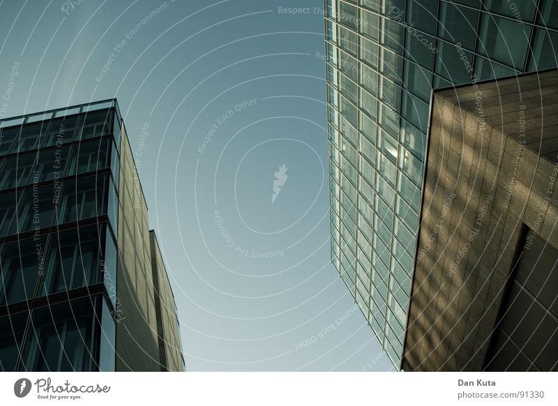 Sky Blue Window Building Glass Tall Modern Perspective Financial institution Bank building Middle Diagonal Upward Tilt Converse