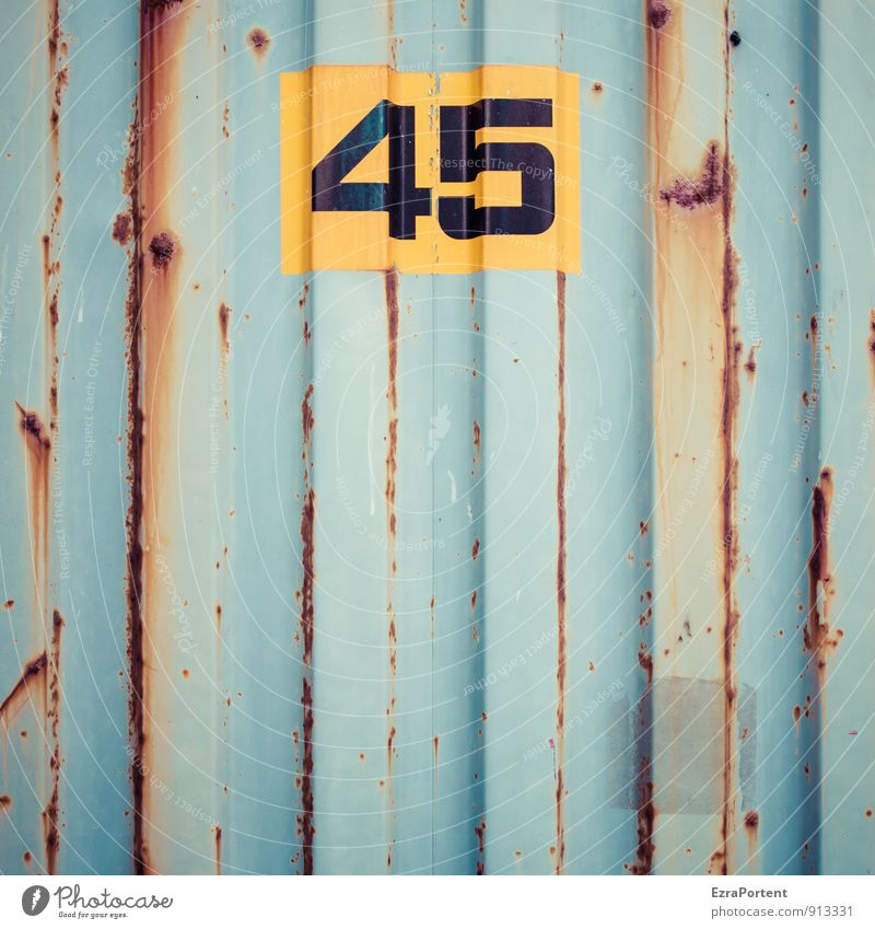 forty-five Transport Logistics Metal Sign Digits and numbers Signs and labeling Line Stripe Blue Yellow Orange 45 - 60 years Birthday Rust Container Design