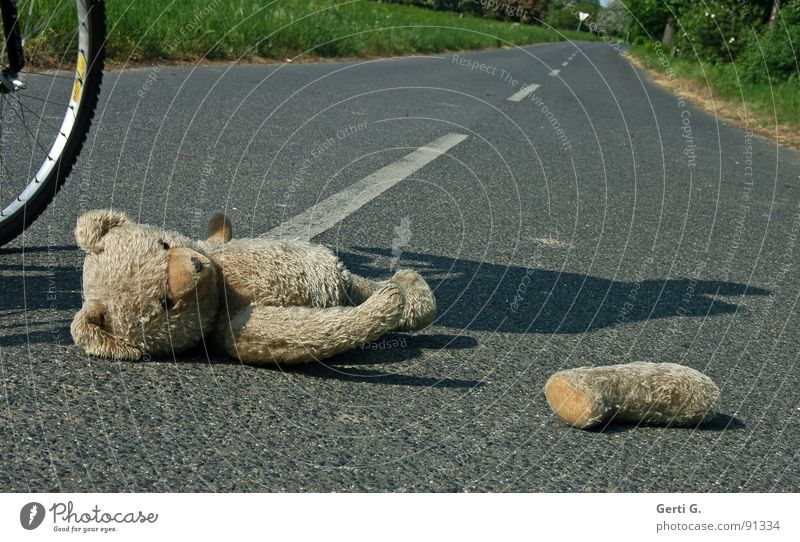 simulation Accident Voyeuristic First Aid Traffic accident Middle of the road Bicycle Bicycle tyre Tracks Teddy bear Toys Cuddly toy Doomed Roadside Dangerous