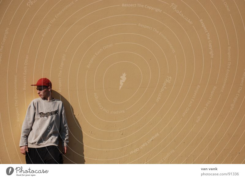 Red Calm Loneliness Wall (building) Orange Concentrate Guy Go under Inattentive Baseball cap