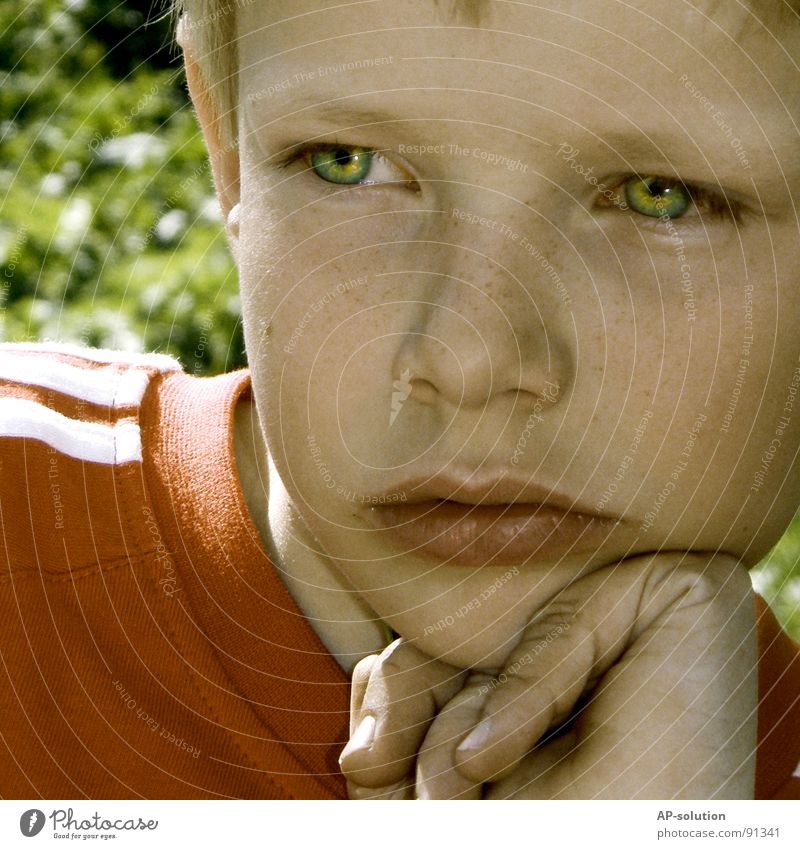 Human being Child Hand Red Face Calm Eyes Boy (child) Emotions Think Skin Blonde Nose Fingers T-shirt Lips