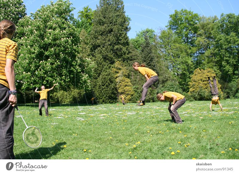 multiple free time #1 Joy Leisure and hobbies Playing Vacation & Travel Summer Sports 2 Human being Air Spring Warmth Tree Grass Park Meadow Jump Together Funny