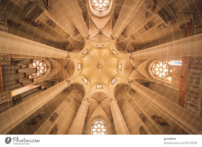 symmetry Church Manmade structures Building Roof Esthetic Large Historic Tall Yellow Symmetry Ceiling Vault Colour photo Interior shot Deserted Day