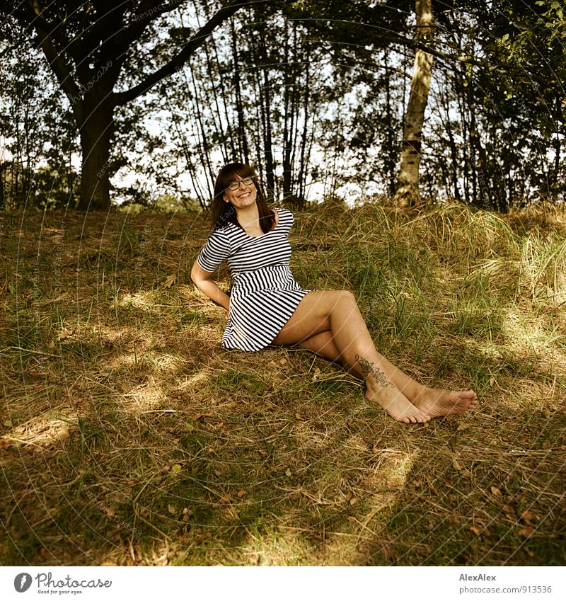 Nature Youth (Young adults) Beautiful Tree Young woman 18 - 30 years Adults Feminine Happy Laughter Legs Body Bushes Sit Esthetic Happiness