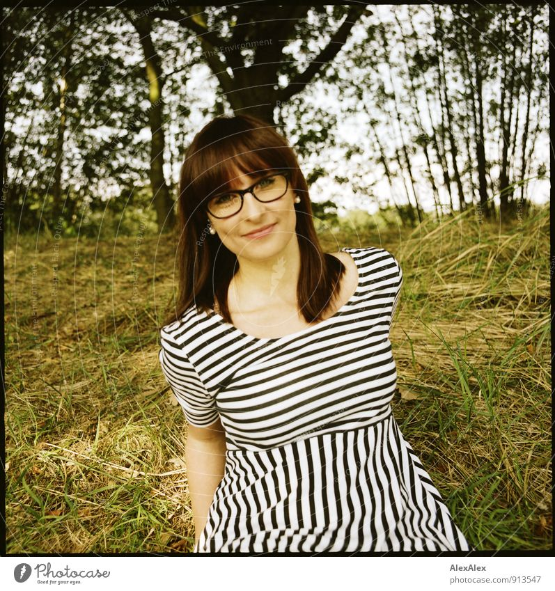 Hello! Trip Young woman Youth (Young adults) brood 18 - 30 years Adults Nature Landscape Beautiful weather Tree Grass Bushes Dress Striped Eyeglasses Red-haired