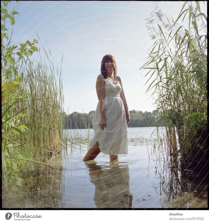 Catch frogs Trip Adventure Summer vacation Young woman Youth (Young adults) 18 - 30 years Adults Beautiful weather Common Reed Lakeside Dress Barefoot Smiling