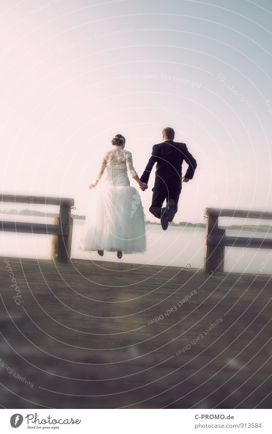 leap into marital bliss Happy Trip Wedding Human being Masculine Feminine Young woman Youth (Young adults) Young man Woman Adults Man Couple 2 18 - 30 years