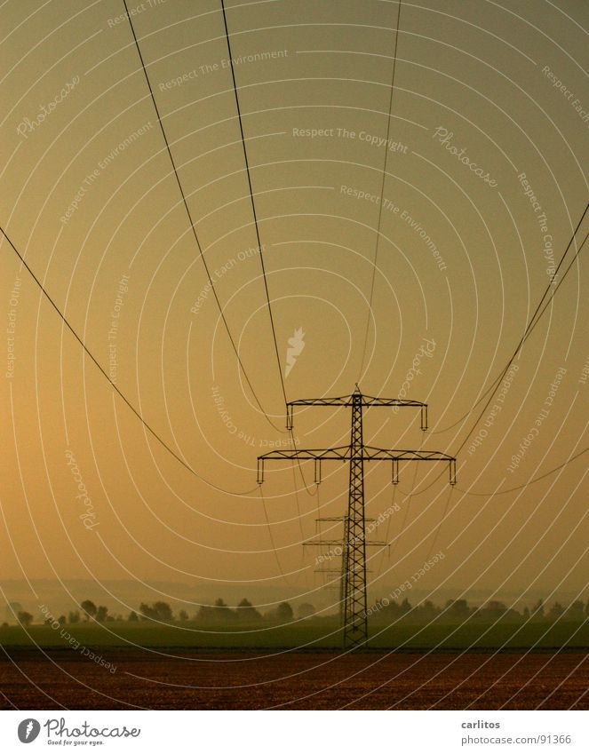Sky Green Joy Vacation & Travel Clouds Grass Field Fog Rope Horizon Hope Energy industry Electricity Cable Electricity pylon Haze