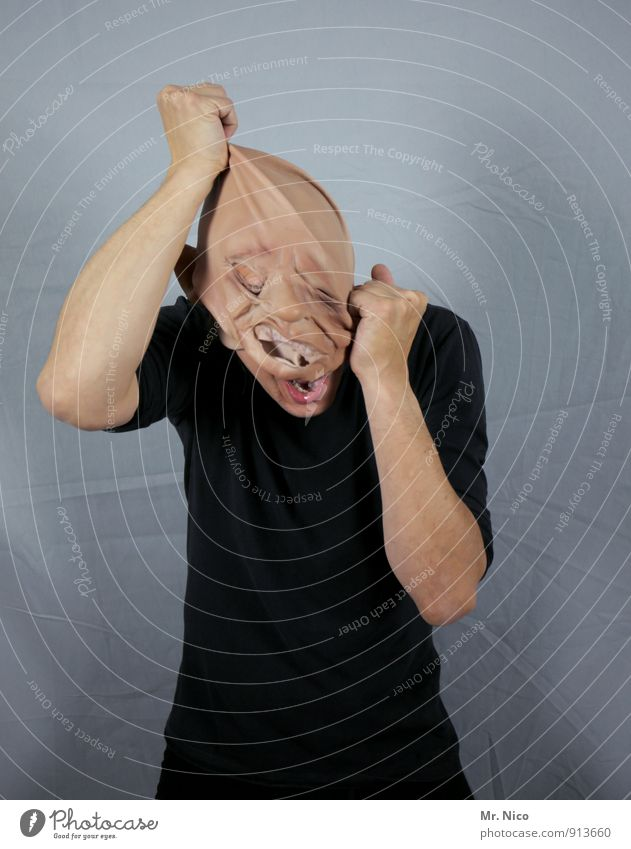 Human being Black Healthy Head Masculine Fear Skin Arm Crazy Posture Anger Creepy Pain Mask Carnival Scream