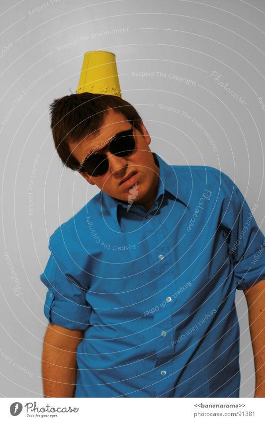 Man Blue Yellow Party Eyeglasses Hat Boredom Sunglasses Hatred Congratulations Childrens birthsday Happy Birthday