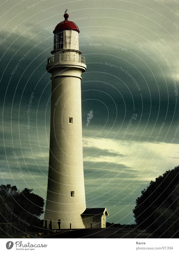 Sky Ocean Clouds Far-off places Freedom Coast Tall Round Level Vantage point Tower Navigation Lighthouse Australia Dusk Road marking