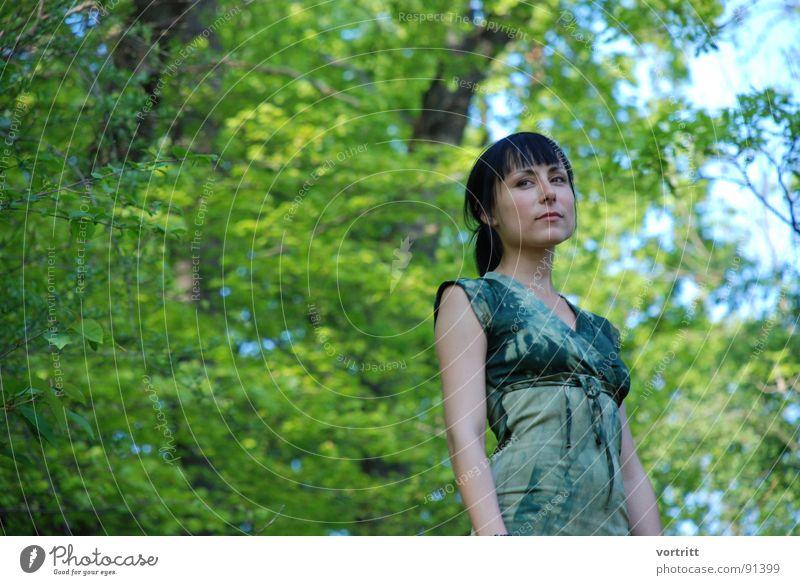 Woman Sky Nature Green Beautiful Tree Face Forest Fairy tale Elf Princess