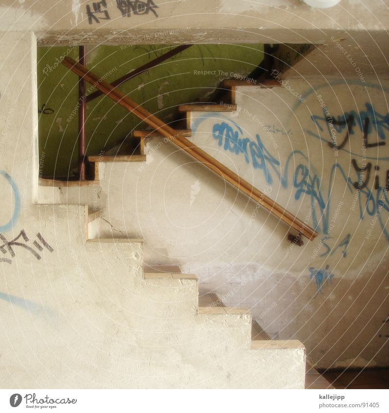 show staircase Staircase (Hallway) Entrance Way out Dirty Shabby Backyard Spray Graffiti Intoxicant Tagger Ascending Tenant Town house (City: Block of flats)