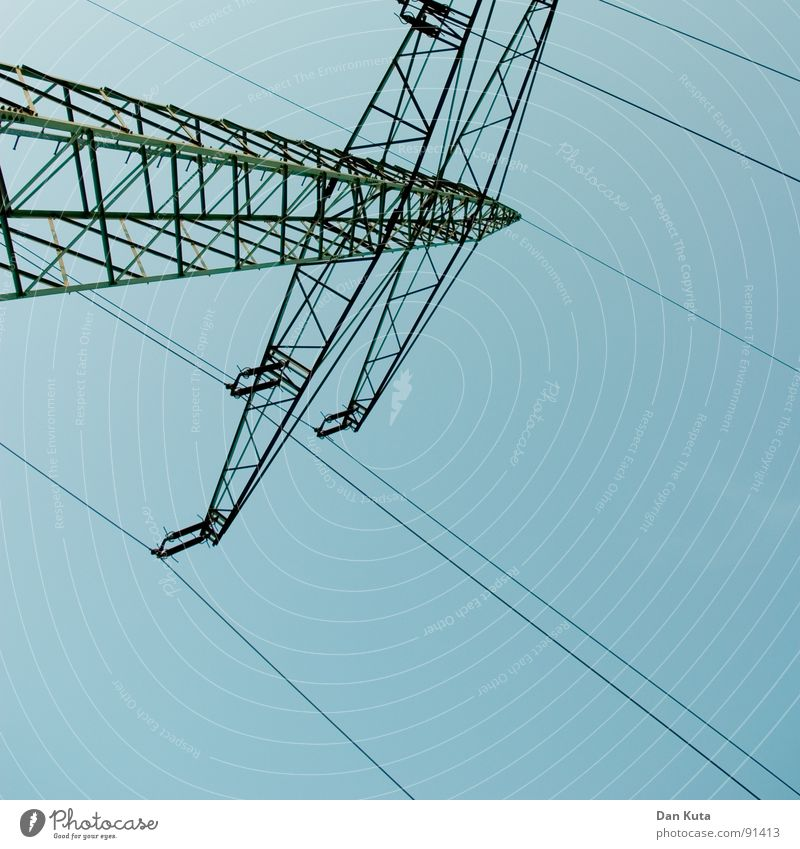High voltage Electricity Noble Thin Graceful Open Wire Electricity pylon Exciting Manmade structures Transmission lines Worm's-eye view Under Central Middle