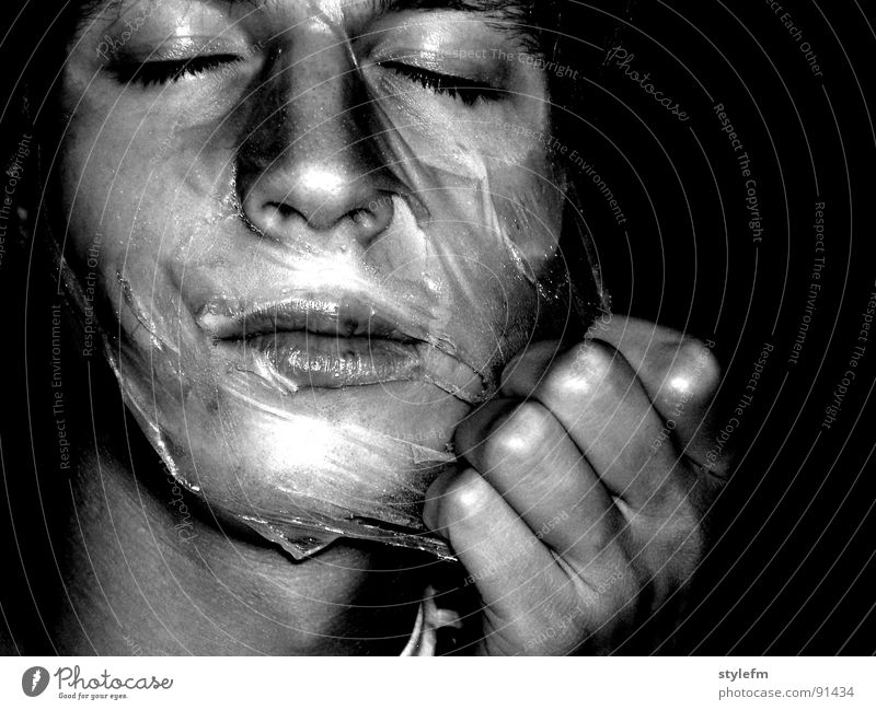 Beauty mask? Glittering Oval Black Background picture White Hand Concentrate Transparent New start Youth (Young adults) Portrait photograph Dark background