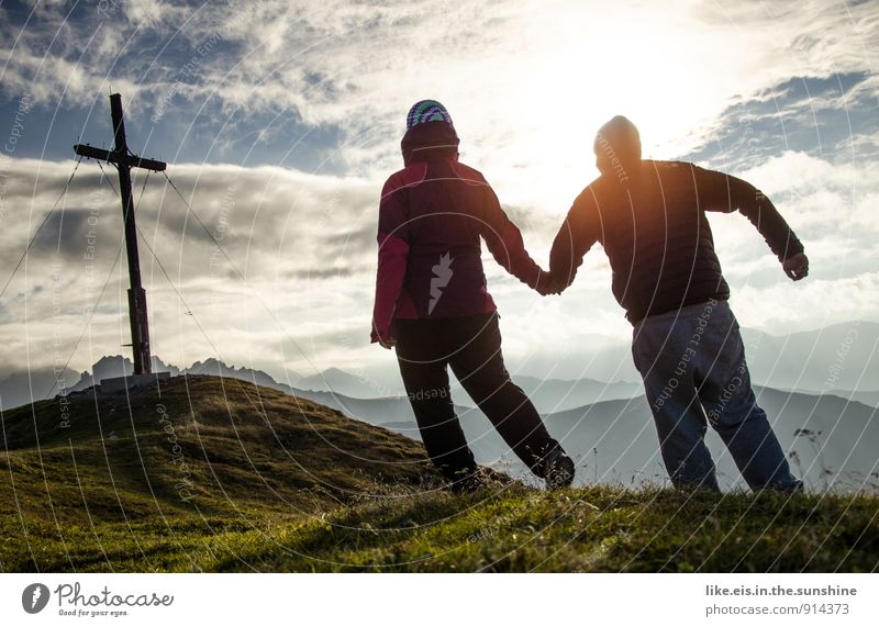 Together you're less alone Masculine Feminine 2 Human being Hiking Peak Peak cross Couple Hold hands Love Nature Alps Happy Colour photo