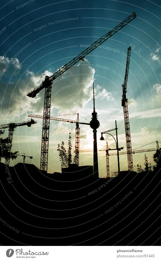 godistein master builder Town Crane Construction site Alexanderplatz Industry Berlin alex Shadow sillouette cityscape Sky Blue Sun Tower