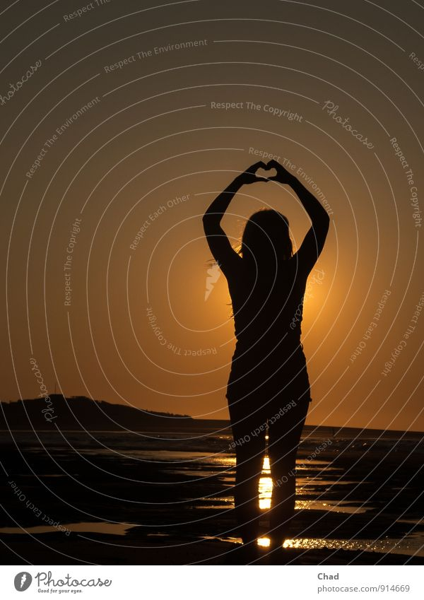 Heart Hands Harmonious Calm Vacation & Travel Summer Beach Ocean Young woman Youth (Young adults) 1 Human being 13 - 18 years Child Sunrise Sunset Long-haired