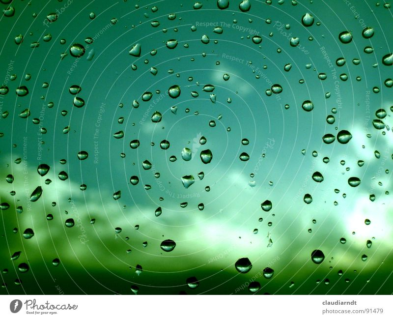 Sky Blue Water Green Clouds Window Sadness Bright Rain Weather Dirty Drops of water Grief Vantage point Turquoise Blow