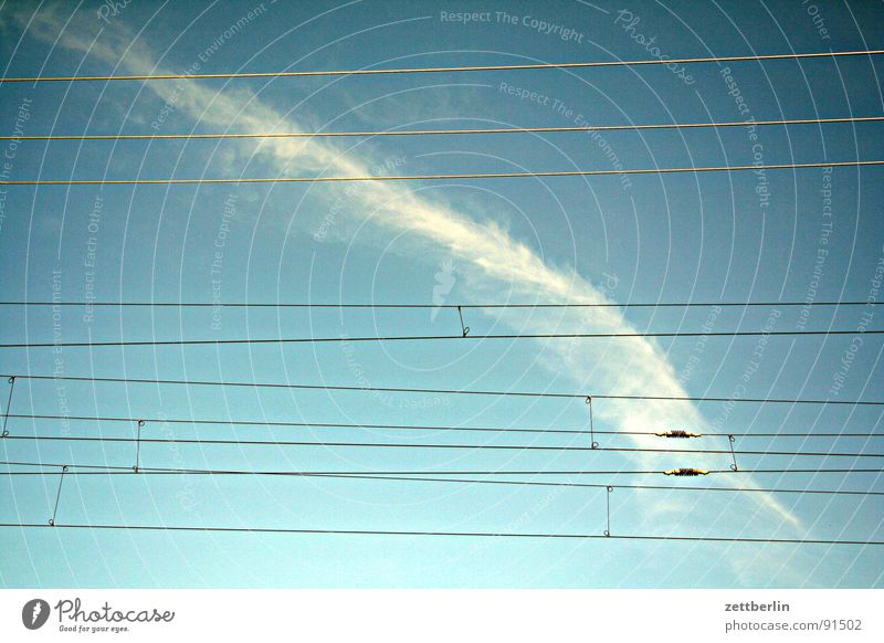 Sky Clouds Relaxation Air Transport Railroad Aviation Logistics Railroad tracks Train station Overhead line Power transmission Vapor trail Rail transport