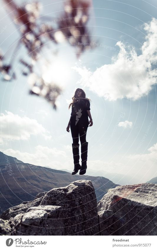 Human being Woman Sky Nature Youth (Young adults) Beautiful Summer Young woman Landscape Calm Adults Mountain Environment Feminine Happy Flying
