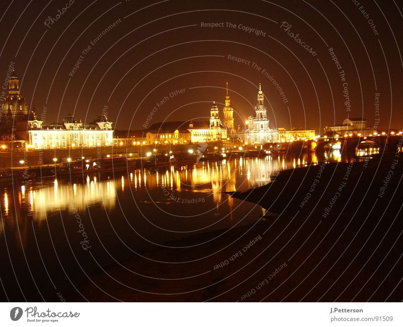 Dresden old town at night Night Night shot Architecture Panorama (View) Old town Brühl's Terrace Frauenkirche castle church Elbe Large