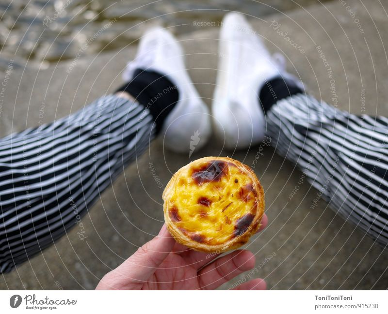 pastel de nata Contentment Senses Trip Cycling tour Summer Eating Feminine Life Legs Feet 1 Human being Pants Cloth Footwear Sneakers Concrete Relaxation